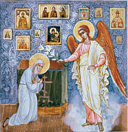Клеймо Житийной Иконы Старца. Явление Архангела Гавриила святому праведнику.