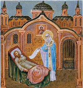 Клеймо Житийной иконы Старца. Святой праведный Николай явился священнику Евгению и продиктовал Тропарь.